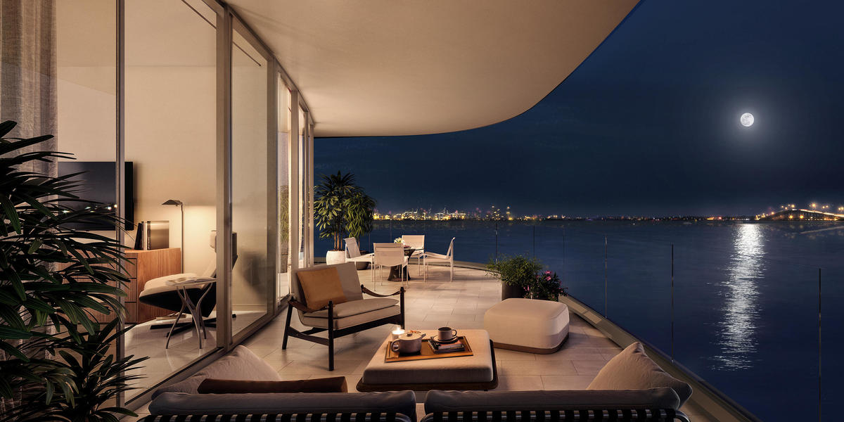 The sublime views of Biscayne Bay and beyond can be enjoyed to the fullest from the 10-foot-deep terraces.