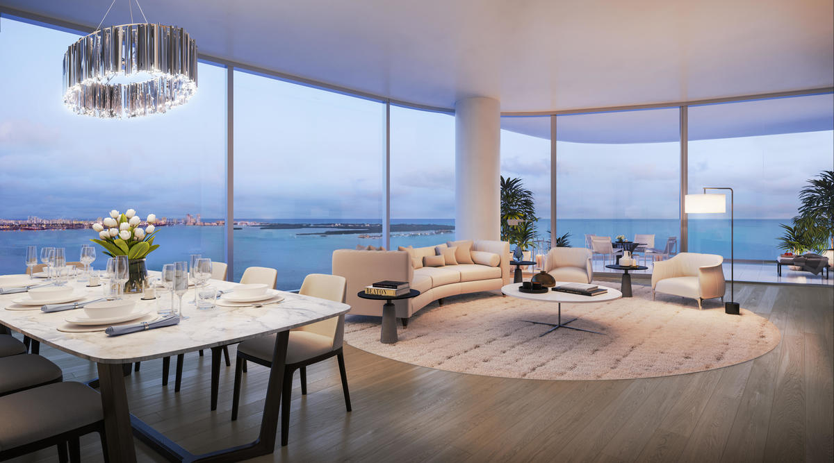 Floor-to-ceiling windows in main living areas enhance the breathtaking new Brickell condo's bayfront views.