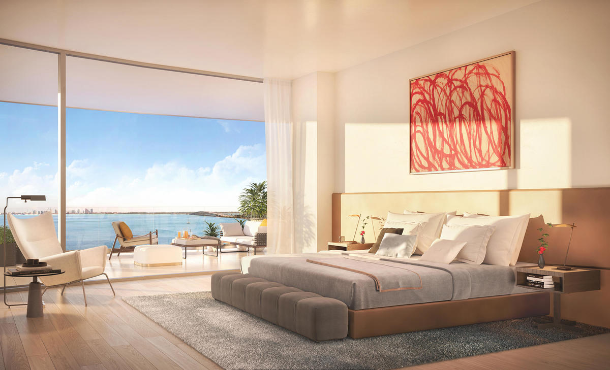 Master bedroom suites feature adjacent balconies, for seamless indoor/outdoor Brickell condo living