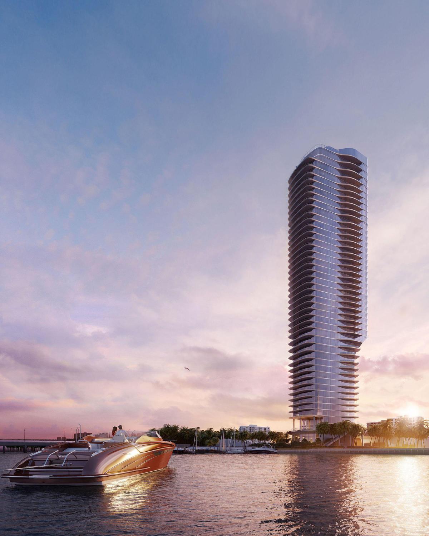 Una Condominium à beira d'água em Miami, esboço inicial.