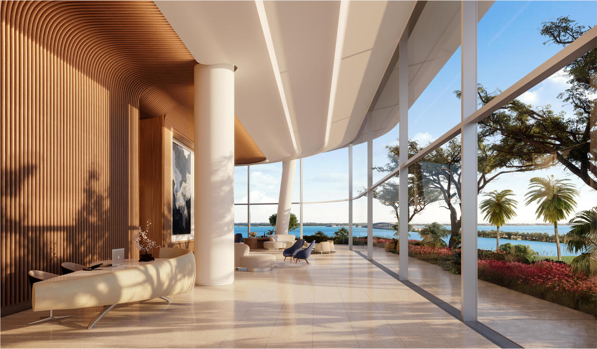 The level of craftsmanship in the lobby is instantly breathtaking, with wood and precious detailing permeating the 20-foot-high space, and a long bank of windows framing the sparkling views of the bay.